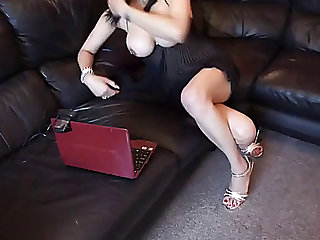 Indian hawt wife in heels masturbating with a darksome maritaldevice